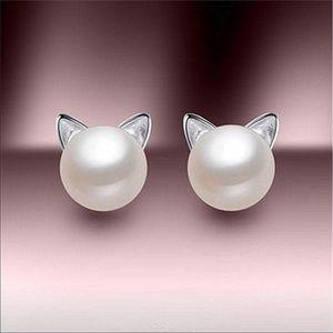 Pearl 925 Silver Cat Earrings